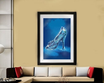 Glass Slipper // Cinderella // Disney Artwork // Decorative Wall art // Fairy tale print