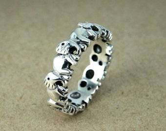 Elephant Ring, Animal Ring, Boho Ring,  Elephant Band ring, Animal ring, elephant fashion ring, lucky elephant ring, Walking Elephant Ring,