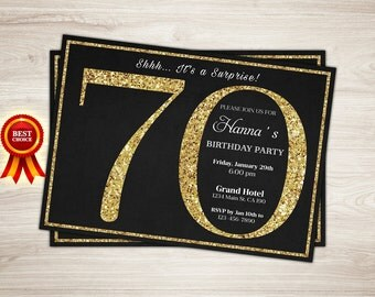 Surprise 70th birthday invitation Gold Glitter 70th birthday invitation.  Adult birthday invitation Printable Surprise Birthday Party invite