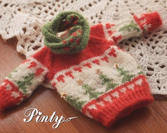 Blythe sweater for Chrismas/handmade/knitting/vest/outfit/clothe/licca