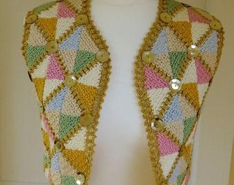 Original Vintage 1960's  Hand Made Crochet Bolero Top - Small