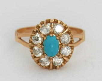 Turquoise & Solid Rose Gold Ring Gemstone Ring - Summer Ring - Turquoise Rose Gold