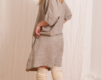 Linen Clothes - Womens Linen Dress - Oversize Tunic - Loose Fit Plus Size Dress - Natural Flax - XL Tunic Dress - XXXL Tunic Dress