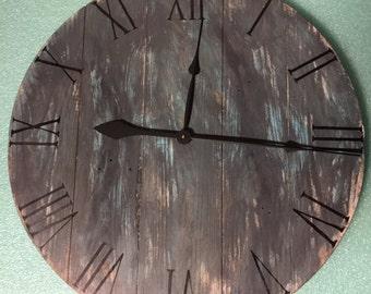 Large wall clock, Wood wall clock, Reclaimed wood clock, Handmade clock, Unique Wall Clock,Rustic wall clock,gift idea, Custom made clock