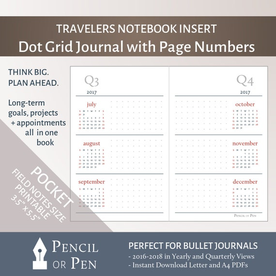 Pocket / Field Notes Size 3-Year Planning Calendar By
