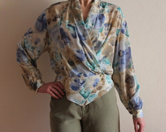 Vintage Blouse Women Blouse Silk Blend Romantic Top Wrap Around Blouse Wrap Around Shirt  Abstract Print Blouse Long Sleeve Size Medium