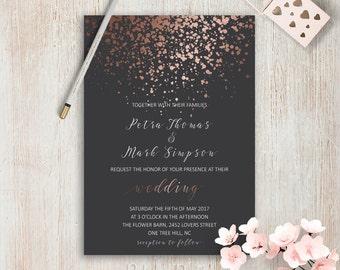 Elegant Wedding Invitations Simple Wedding Invitation Rose Gold Grey Wedding Invitation Set Modern Wedding Invitation Suite Pink Grey Invite