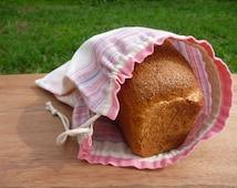Linen striped bread bag, storage bag, linen product bag, bread keeper.