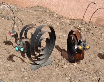 Snail yard art iron metal