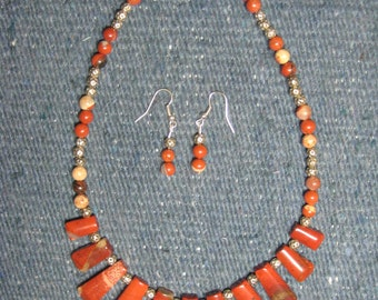 Red River Jasper Necklace and Earrings