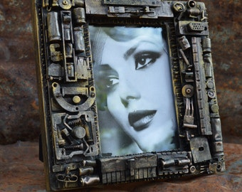 steampunk picture frame, computer parts from a mother board, one of a kind, great gift for anyone