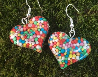 Candy heart Earrings Hundreds and Thousands hanging resin handmade rainbow jewelry jewellery cute happy yummy sweets lolly sweat heart