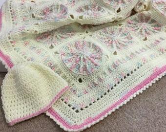 Baby blanket,  baby shower gift, stroller blanket, car seat blanket, crochet granny square