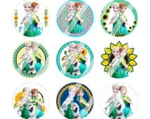 """Frozen Fever 1 inch Digital Bottle cap images,(2) 4"""" x 6"""" Sheet, Perfect for hairbows, scrapbooking, stickers, jewelry, buttons, magnets..."""