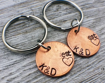 Custom Matching Penny Keychains, Customized penny, 1st anniversary, couples gift, anniversary gift, boyfriend gift, husband gift,Lucky Penny
