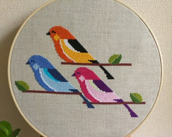 Cross Stitch Three Little Birds PDF Pattern Instant Download