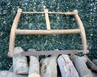 Bow Saw, Rustic Handmade Spanish Tool, Vintage Tool, Swede Saw, Finn Saw, Buck Saw, Crosscut Saw, Firewood Saw, Branch Saw