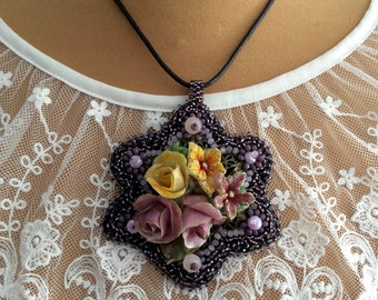 cold porcelain, embroidered pearls pendant