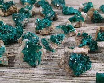 Dioptase Crystals On Matrix, Emerald Green Dioptase, Dioptase Mineral Specimen,  C-184