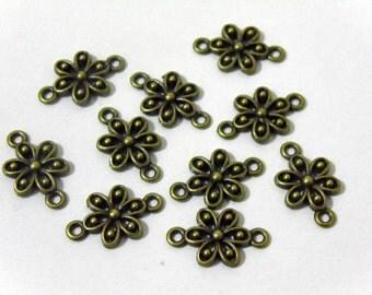 10 Antique Style Bronze Flowers Connectors #EJ16