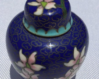 Tiny Blue Enameled Bottle with cover