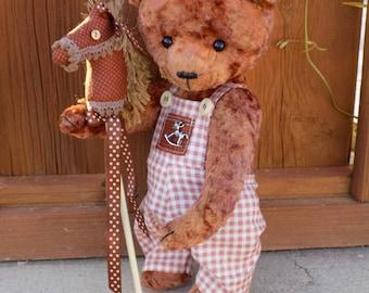 Artist Teddy Bear Elias 25 cm-Artist Teddy Bears-Tilda Doll-Teddy Bear-Textile Teddy Bear-Dollhouse-Dolls&Miniatures-Art Collectibles