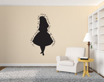 "Alice in Wonderland Wall Decal Quote ""If I had a world of my own, everything would be nonsense"" Indoor Wall Art Vinyl Decal"