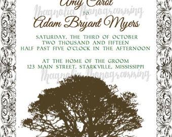 Wedding Invitation. Outdoor inspired. Vintage Tree.