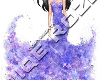 Fashion illustration, digital print, download, hand drawn, fashion art, CC