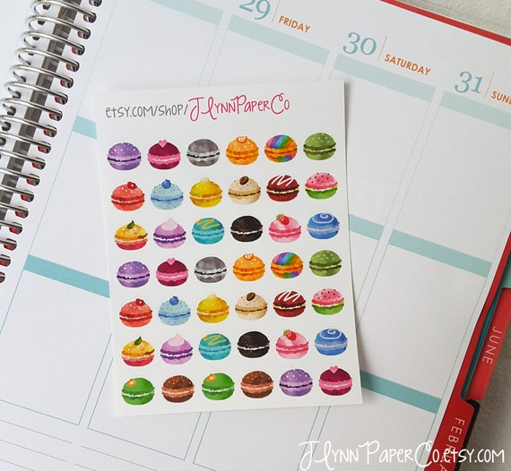 42 Macaroon stickers, Rainbow, Water color, Food sticker, Cute Stickers, Planner Stickers, Pretty, Colorful, Erin Condren, ECLP