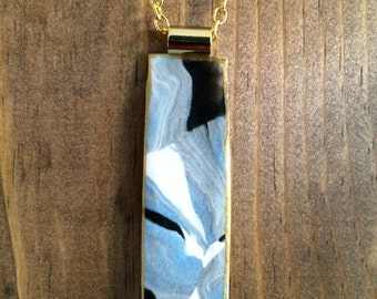 Abstract Pendant Necklace on Long Gold Chain