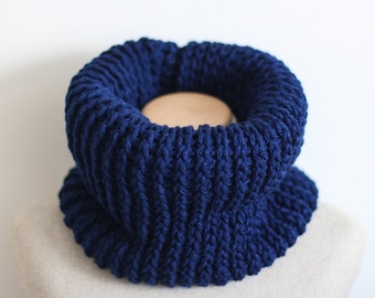 Navy infinity scarf, vegan gift, navy blue cowl, knit infinity scarf, circle scarf, tube scarf, vegan clothing, ready to ship, vegan gift