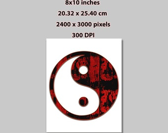 Instant Download, 8x10 in, Yin & Yang Red Wood Silhouette Minimalist Poster Art Print (1017) Print At Home Artwork