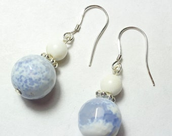 Faceted Agate Earrings, light blue Earrings, Gemstone Earrings , Sterling Silver,