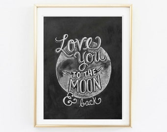 Printable - I love you to the Moon and Back Wall Art Decor