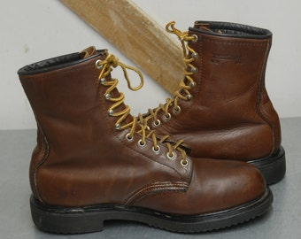 """Vintage Early 90's Red Wing Steel Toe Cap 8"""" 10 Hole Brown Leather Work Boots US 9.5 E Made in USA Insulated"""