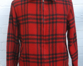 Vintage 70's/80's L.L Bean Zip Up Sherpa Lined Buffalo Plaid Wool Hunting Jacket Large