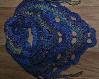 Hand Crocheted Shawlette Scarf.