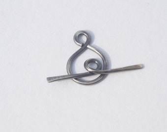 silver toggle clasp plain oxidized dark simple sterling silver