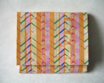 Accordion Duct Tape Wallet - Watercolor Chevron - Hot Pink - Black Duct Tape - Expandable - Coin Pouch - Velcro Closure