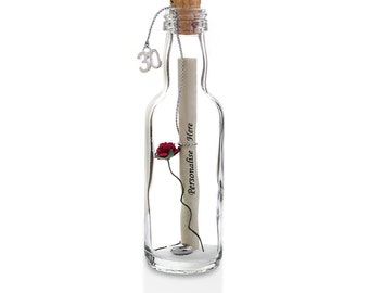 30th Birthday Gift | Personalised Message in a Bottle | Gift Boxed | Available in 5 Colours | Fast Dispatch