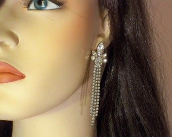 New Old Stock Vintage Clear Rhinestone Long and Dangly Pierced Earrings RS160