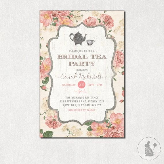 Bridal tea party invitation vintage flowers bridal shower invite il570xn filmwisefo