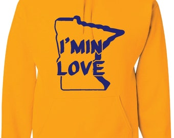 Gold Hood Sweatshirt with Purple I Min Love Design