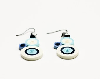 Small Quilled Paper Earrings White And Blue