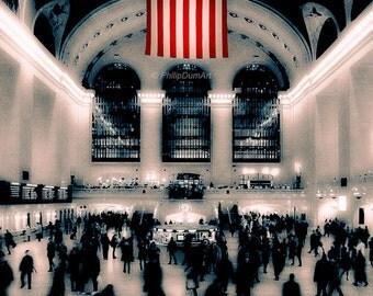 Grand Central, USA, New York, train station, american flag, original fine art photography, office decor, living room decor, bedroom decor