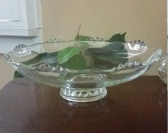 Large Crystal Candlewick Footed Scalloped Bowl,  Extra large Fruit Bowl  12 inch, Large Candlewick Serving Bowl
