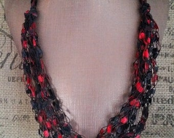 Red and Black Yarn Necklace Crocheted With Ladder/Ribbon Yarn