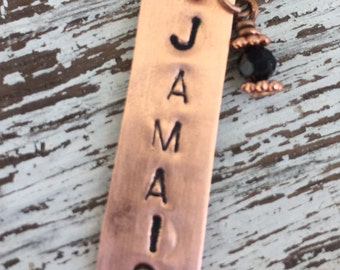 Charm necklace Jamaica in recycled copper