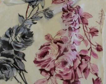 Hand painted silk scarf: pink and black roses. Gift for her. Birthday gift. Chiffon.  69 x 18 inches